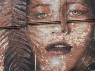 wall art of woman's face