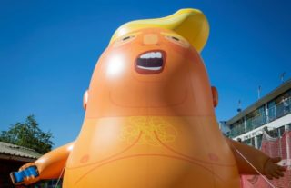 Image of large ballon of Donald Trump