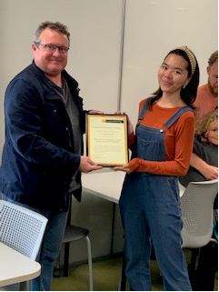 Mike Kent presenting Crystal Abidin with her Humanities Research Awards 2020
